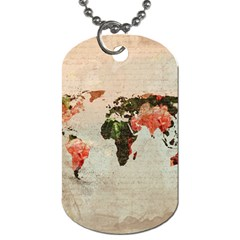 Vintageworldmap1200 Dog Tag (one Sided) by mjdesigns
