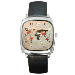 Vintageworldmap1200 Square Leather Watch by mjdesigns