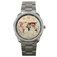 Vintageworldmap1200 Sport Metal Watch by mjdesigns
