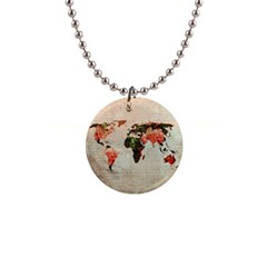 Vintageworldmap1200 Button Necklace by mjdesigns