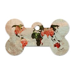 Vintageworldmap1200 Dog Tag Bone (two Sided) by mjdesigns