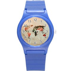 Vintageworldmap1200 Plastic Sport Watch (small) by mjdesigns