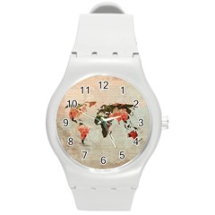 Vintageworldmap1200 Plastic Sport Watch (medium) by mjdesigns