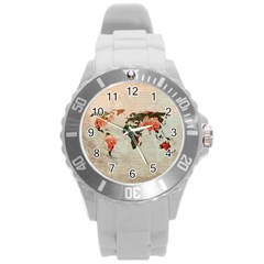 Vintageworldmap1200 Plastic Sport Watch (large) by mjdesigns