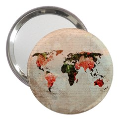 Vintageworldmap1200 3  Handbag Mirror by mjdesigns