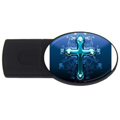 Glossy Blue Cross Live Wp 1 2 S 307x512 4gb Usb Flash Drive (oval) by ukbanter