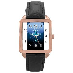 Glossy Blue Cross Live Wp 1 2 S 307x512 Rose Gold Leather Watch  by ukbanter