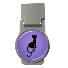 Purple Gracious Evil Black Cat Money Clip (round) by CreaturesStore