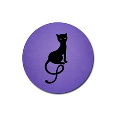 Purple Gracious Evil Black Cat Drink Coaster (round) by CreaturesStore