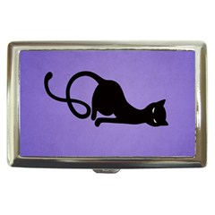 Purple Gracious Evil Black Cat Cigarette Money Case