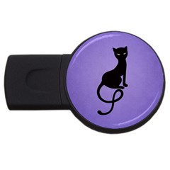 Purple Gracious Evil Black Cat 2gb Usb Flash Drive (round) by CreaturesStore