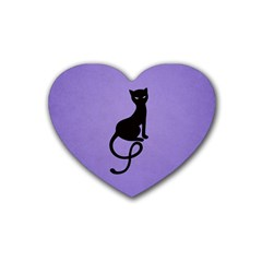Purple Gracious Evil Black Cat Drink Coasters (heart) by CreaturesStore