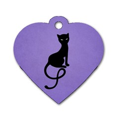 Purple Gracious Evil Black Cat Dog Tag Heart (two Sided) by CreaturesStore