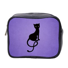 Purple Gracious Evil Black Cat Mini Travel Toiletry Bag (two Sides) by CreaturesStore