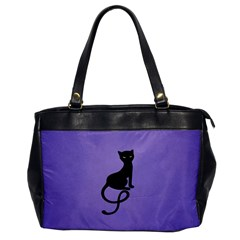 Purple Gracious Evil Black Cat Oversize Office Handbag (one Side) by CreaturesStore