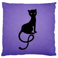 Purple Gracious Evil Black Cat Large Cushion Case (two Sided)  by CreaturesStore