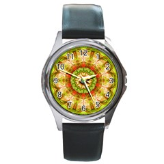 Red Green Apples Mandala Round Leather Watch (silver Rim)