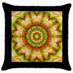 Red Green Apples Mandala Black Throw Pillow Case by Zandiepants