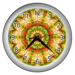 Red Green Apples Mandala Wall Clock (silver) by Zandiepants