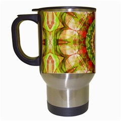 Red Green Apples Mandala Travel Mug (white) by Zandiepants