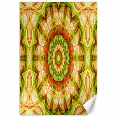 Red Green Apples Mandala Canvas 12  X 18  (unframed) by Zandiepants