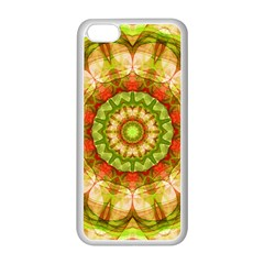 Red Green Apples Mandala Apple Iphone 5c Seamless Case (white) by Zandiepants