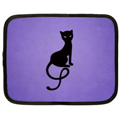 Purple Gracious Evil Black Cat Netbook Sleeve (xxl) by CreaturesStore