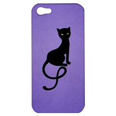 Purple Gracious Evil Black Cat Apple Iphone 5 Hardshell Case by CreaturesStore