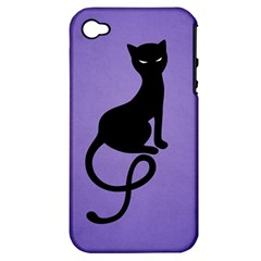 Purple Gracious Evil Black Cat Apple Iphone 4/4s Hardshell Case (pc+silicone)