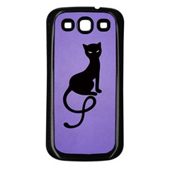 Purple Gracious Evil Black Cat Samsung Galaxy S3 Back Case (black)