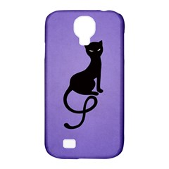 Purple Gracious Evil Black Cat Samsung Galaxy S4 Classic Hardshell Case (pc+silicone)