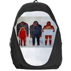 1 Neanderthal & 3 Big Foot,on White, Backpack Bag by creationtruth