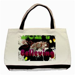 Don t Stop Believing Twin Sided Black Tote Bag by SharoleneCollection