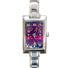 Beautiful Day Just Smile Rectangular Italian Charm Watch