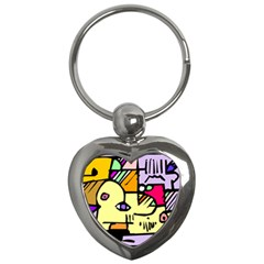 Fighting The Fog Key Chain (heart) by FunWithFibro