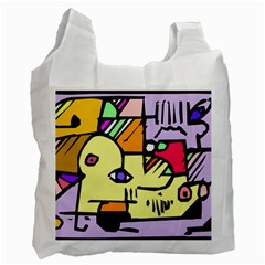 Fighting The Fog White Reusable Bag (one Side) by FunWithFibro
