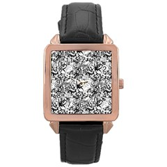 Flower Lace Rose Gold Leather Watch  by rokinronda
