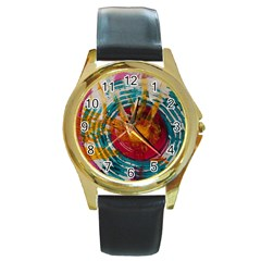 Art Therapy Round Leather Watch (gold Rim)  by StuffOrSomething