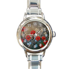 Poppy Garden Round Italian Charm Watch