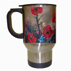 Poppy Garden Travel Mug (white) by rokinronda