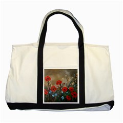 Poppy Garden Two Toned Tote Bag