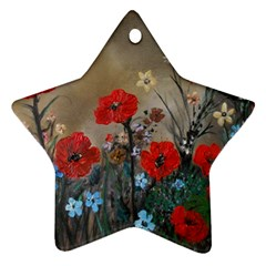 Poppy Garden Star Ornament (two Sides)