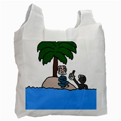 Desert Island Humor White Reusable Bag (one Side) by EricsDesignz