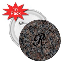 Pink And Black Mica Letter R 2 25  Button (10 Pack) by Khoncepts