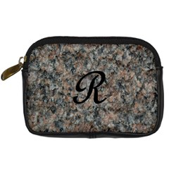 Pink And Black Mica Letter R Digital Camera Leather Case by Khoncepts