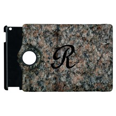 Pink And Black Mica Letter R Apple Ipad 3/4 Flip 360 Case