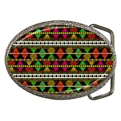 Aztec Style Pattern Belt Buckle (oval) by dflcprints