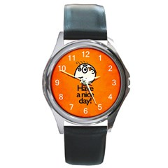 Have A Nice Day Happy Character Round Leather Watch (silver Rim)