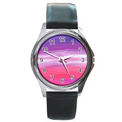 Abstract In Pink & Purple Round Leather Watch (silver Rim) by StuffOrSomething