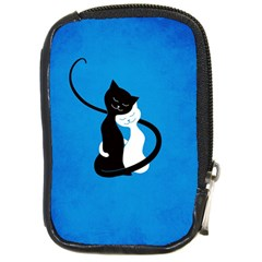 Blue White And Black Cats In Love Compact Camera Leather Case by CreaturesStore